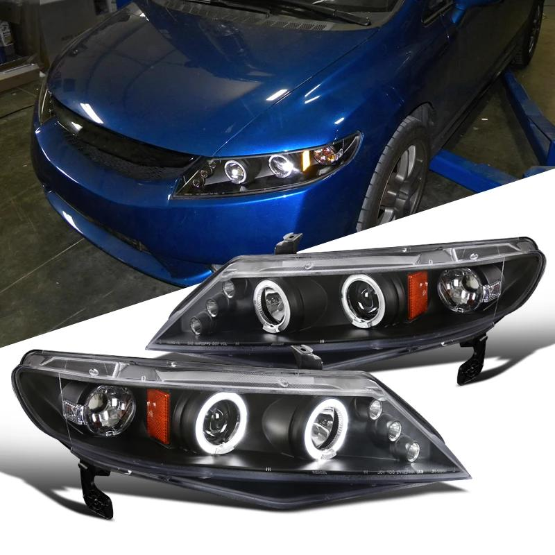 Headlight Housing Kit Projector Dual Halo Led Black 2006-2011 Honda Civic Sedan 4dr