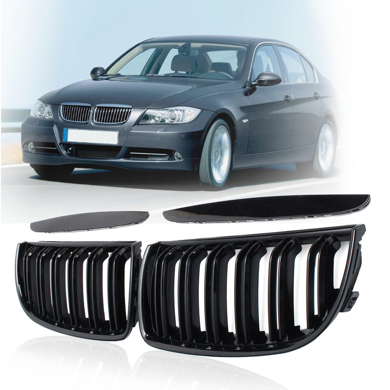 2006-2008 BMW 3 Series Sedan E90 Kidney Grill Grille Double Slat Glossy Black/ Pair