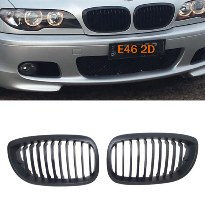 2002-2005 BMW 3 Series E46 Coupe 2 door Kidney Grill Grille Matte Black/ Pair