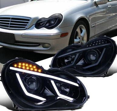 Headlight Housing Kit Projector Led Black 2001-2007 W203 Mercedes C-class