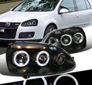 Headlight Housing Kit Projector Dual Halo Led Black 2006-2010 Volkswagen Golf Rabbit Jetta