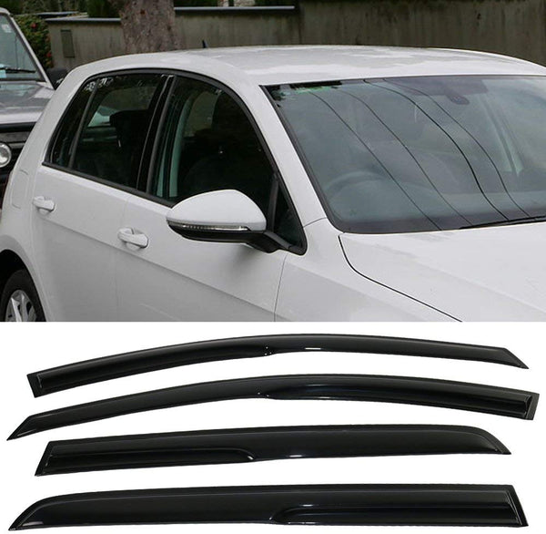Window Visor Deflector Rain Guard 2015-2019 Volkswagen Golf MK7 Mugen Style Dark Smoke