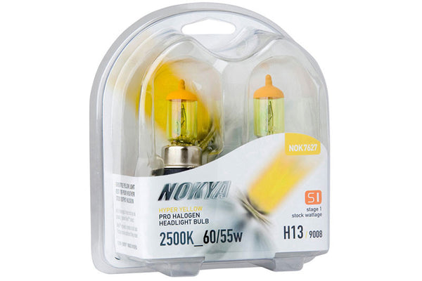 Nokya Hyper Yellow H13/9008 Light Bulbs 2500K 60/55W (Stage 1)