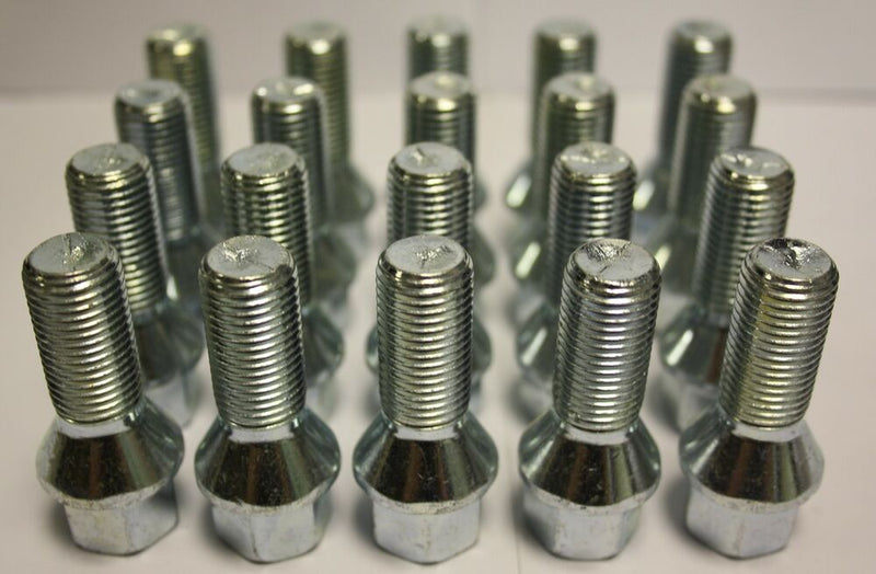 12x1.5 Acorn Lug Bolt Chrome Heat Treated Conical Seat (12mmx1.5 Thread Size) 17mm Hex (20 Pieces) (28mm Shank)