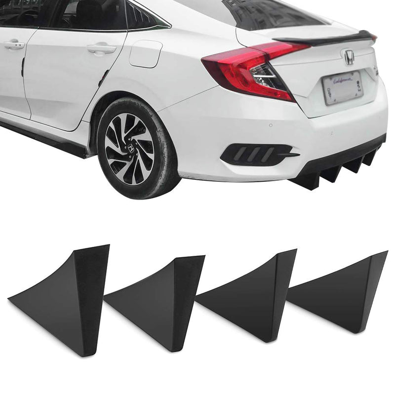 Universal Rear Diffuser 4pcs Unpainted Black ABS Plastic Splitter Spoiler Valance Under Lip Body kit