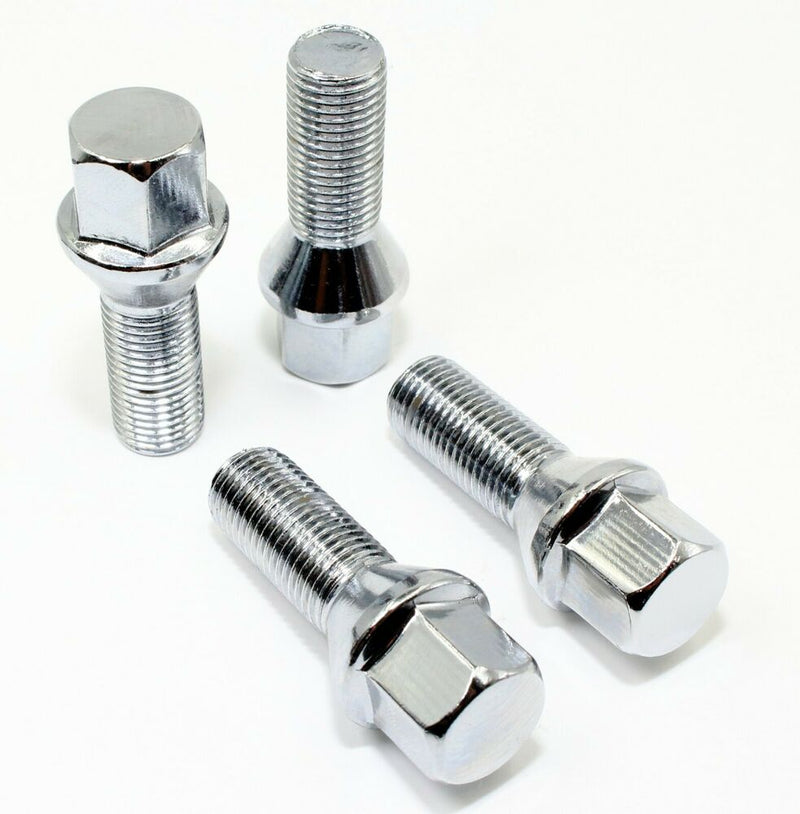 12x1.25 Acorn Lug Bolt Chrome Heat Treated Conical Seat (12mmx1.25 Thread Size) 17mm Hex (20 Pieces) (28mm Shank)