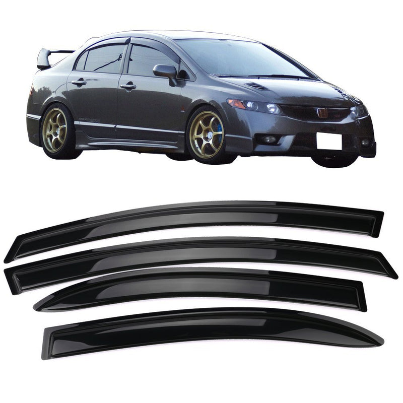 Window Visor Deflector Rain Guard 2006-2011 Honda Civic Sedan 4dr Dark Smoke