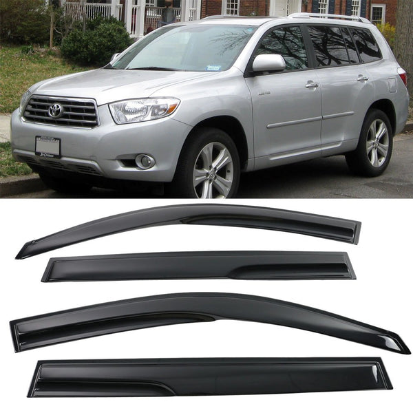 Window Visor Deflector Rain Guard 2008-2013 Toyota Highlander Mugen Style Dark Smoke
