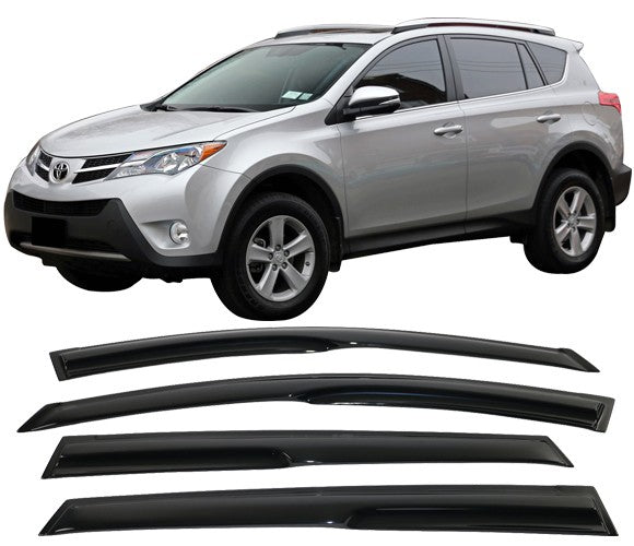 Window Visor Deflector Rain Guard 2013-2018 Toyota RAV4 Dark Smoke Mugen Style
