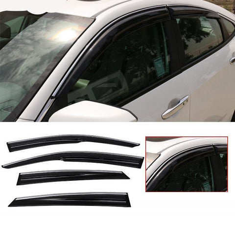 Window Visor Deflector Rain Guard  2016-2019 Honda Civic 4 door Sedan Mugen Style Chrome Trim