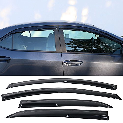 Window Visor Deflector Rain Guard 2014-2019 Toyota Corolla Mugen Style Dark Smoke