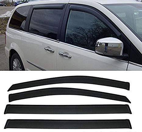 Window Visor Deflector Rain Guard 2008-2016 Chrysler Town & Country Dark Smoke
