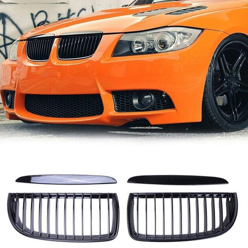 2006-2008 BMW 3 Series Sedan E90 Kidney Grill Grille Glossy Black/ Pair