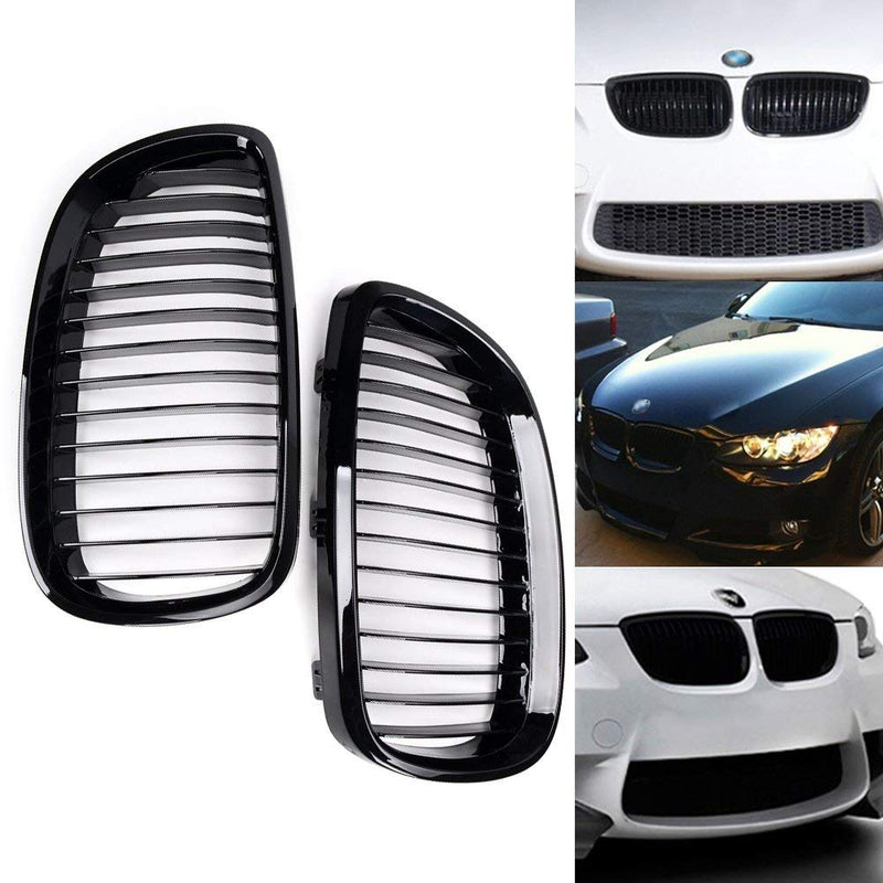 2010-2013 BMW 3 Series Coupe Convertible E92 E93 M3 Kidney Grill Grille Glossy Black/ Pair