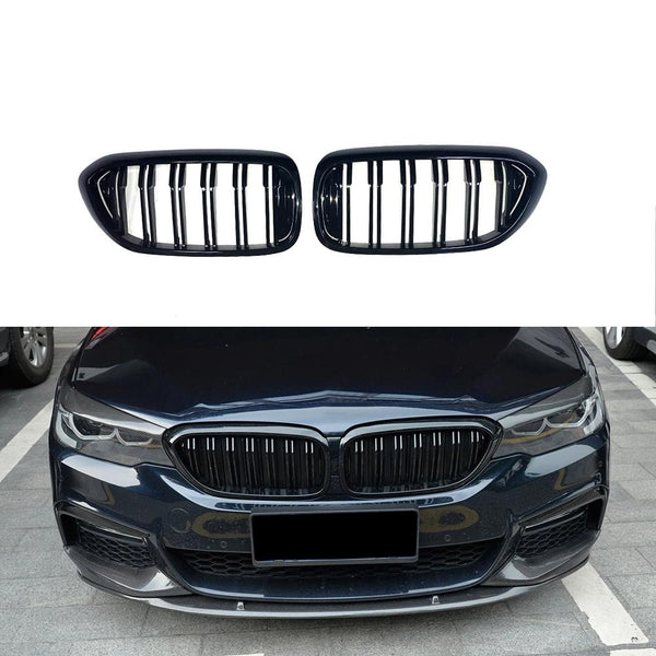 2017-2020 BMW G30 5-Series Kidney Grill Grille Double Spoke Glossy Black/ Pair