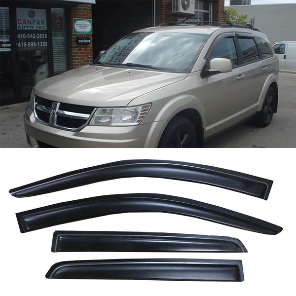 Window Visor Deflector Rain Guard 2008-2019 Dodge Journey Dark Smoke