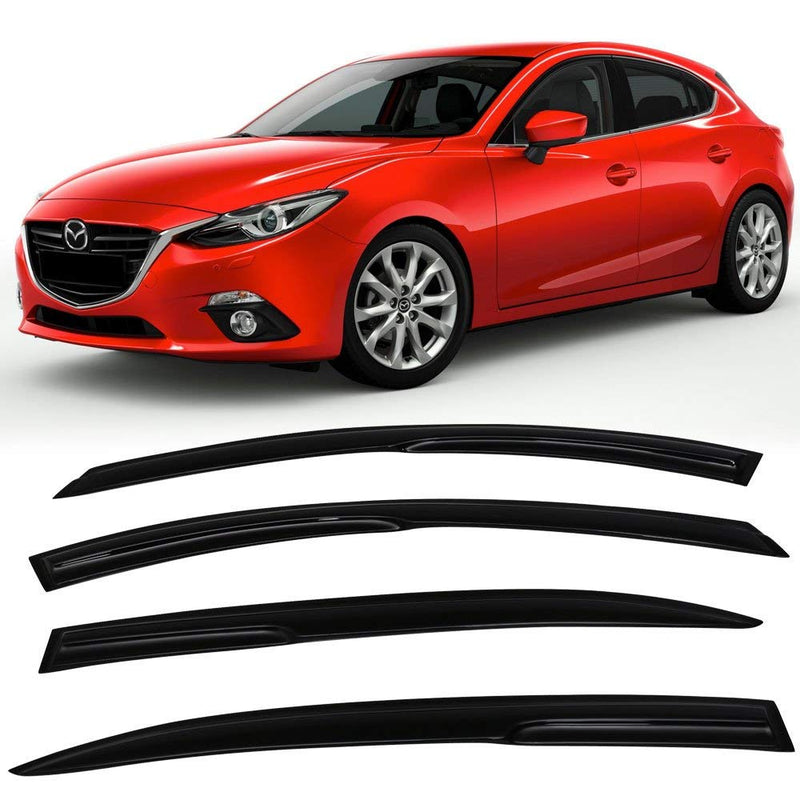 Window Visor Deflector Rain Guard 2014-2018 Mazda 3 Sedan 4dr Mugen Style Dark Smoke
