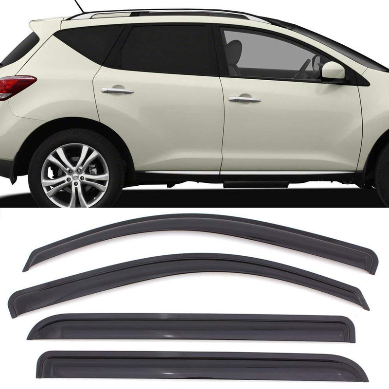 Window Visor Deflector Rain Guard 2009-2014 Nissan Murano Dark Smoke