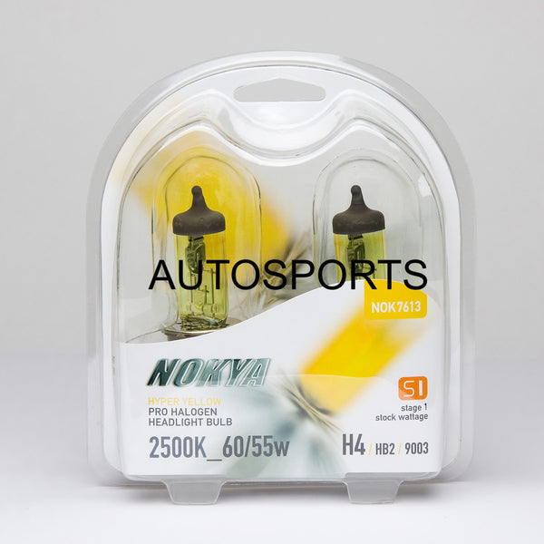 Nokya Hyper Yellow H4/9003/HB2 Light Bulbs 2500K 60/55W (Stage 1)