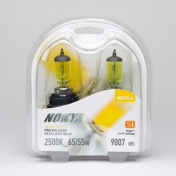 Nokya Hyper Yellow 9007/HB5 Light Bulbs 2500K 65/55W (Stage 1)