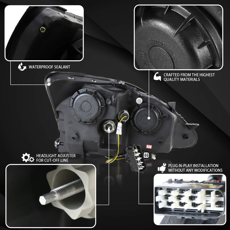 Projector Headlight Housing Kit fit 2006-2009 Lexus IS IS250 IS350 Glossy Black SMD LED +Signal