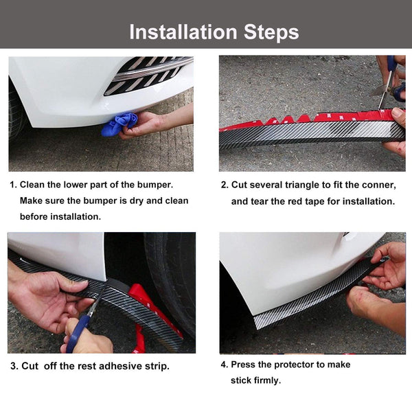 EZ Lip 2.5M Universal Front Bumper Lip Rubber Skirt Protector Lip for Cars Trucks SUV