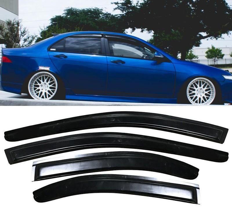 Window Visor Deflector Rain Guard 2004-2008 Acura TSX Dark Smoke