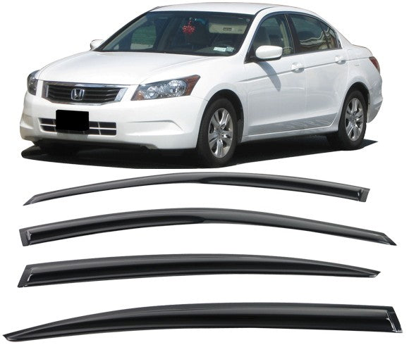 Window Visor Deflector Rain Guard 2008-2012 Honda Accord Sedan 4dr Dark Smoke