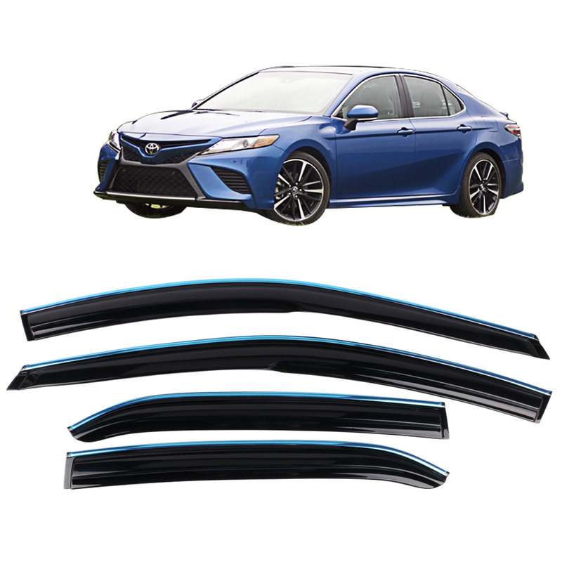 Window Visor Deflector Rain Guard 2018-2020 Toyota Camry Mugen Style w/ Chrome Trim
