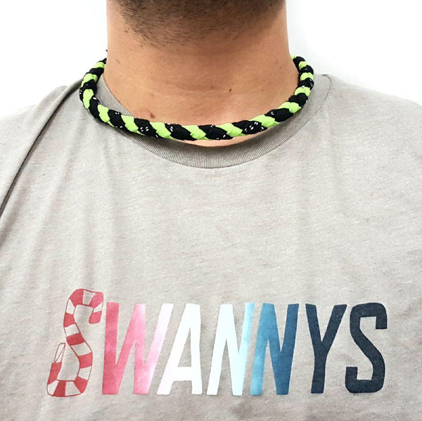 Hockey Lace Necklace - Black and Neon Green by Swannys