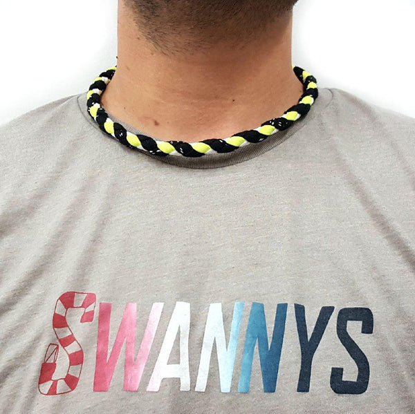Hockey Lace Necklace - Black, Neon Yellow and White by Swannys