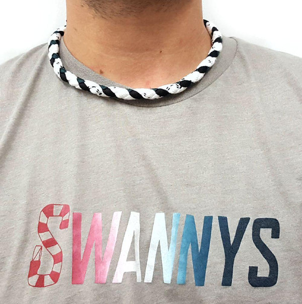 Hockey Lace Necklace - White, Black and Forest Green by Swannys