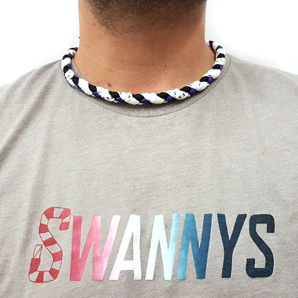 Hockey Lace Necklace - White, Black and Purple by Swannys