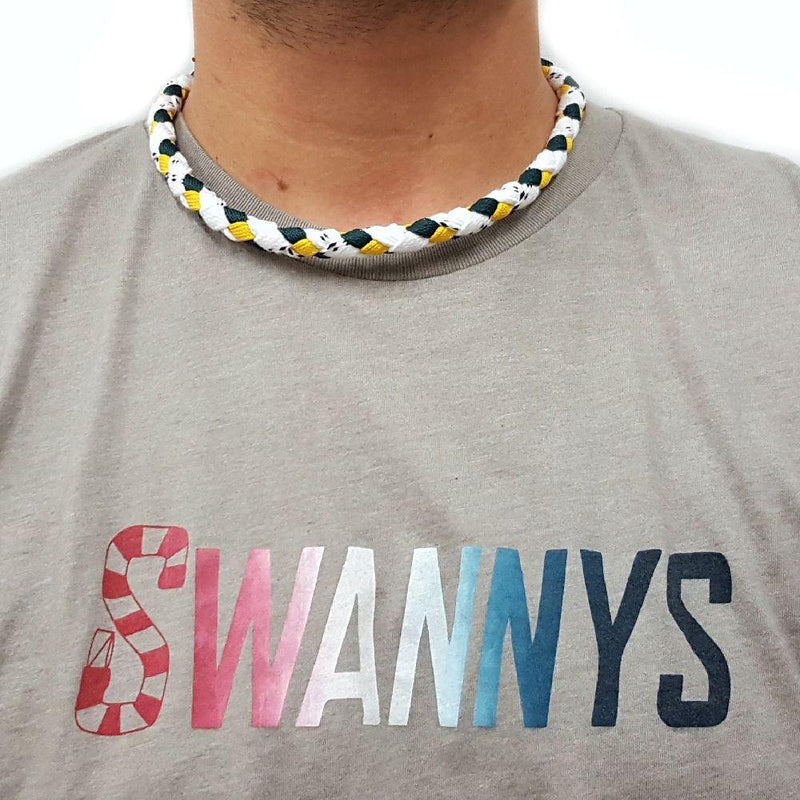 Hockey Lace Necklace - White, Forest and Gold by Swannys