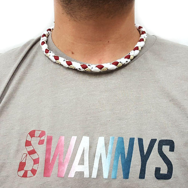 Hockey Lace Necklace - White, Maroon and Vegas Gold by Swannys