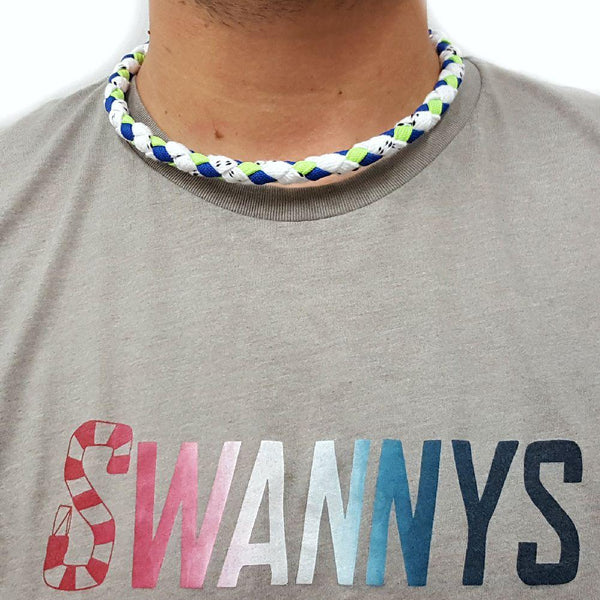 Hockey Lace Necklace - White, Royal Blue and Neon Green by Swannys