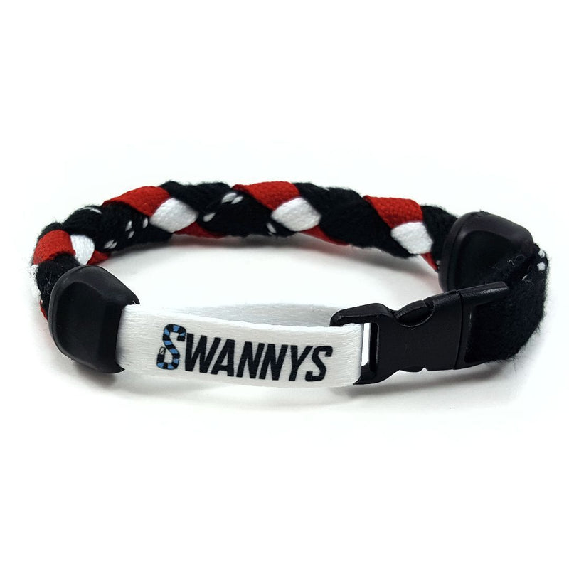 Hockey Lace Bracelet - Black, Red and White by Swannys