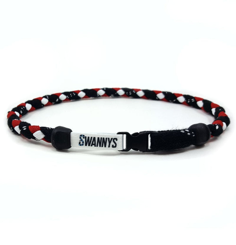 Hockey Lace Necklace - Black, Red and White by Swannys