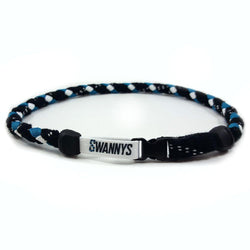 Hockey Lace Necklace - Black, Teal and White by Swannys