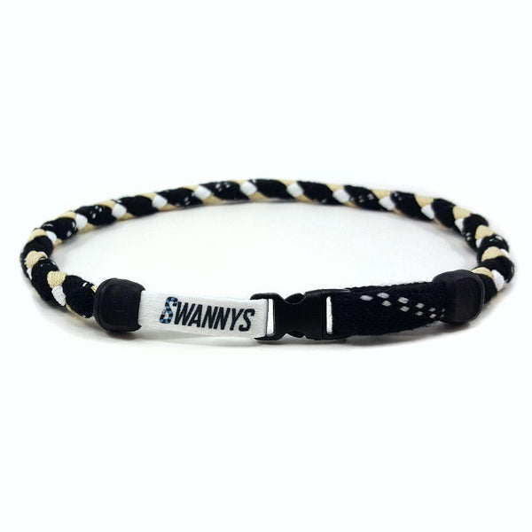 Hockey Lace Necklace - Black, Vegas Gold and White by Swannys