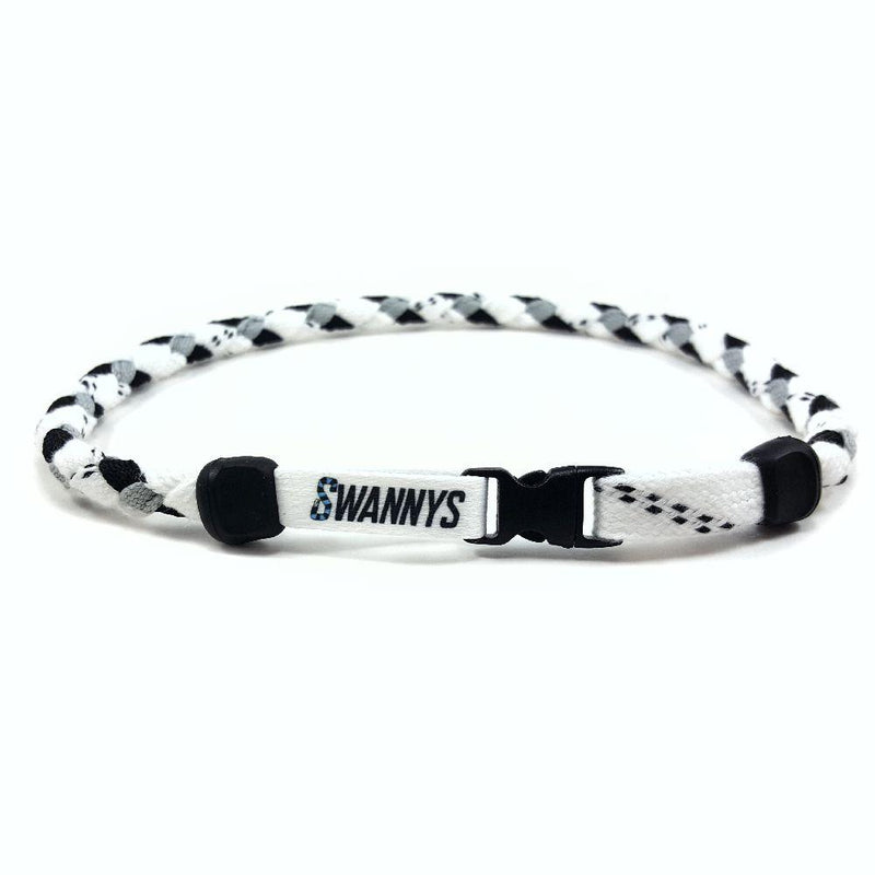 Hockey Lace Necklace - White, Black and Gray by Swannys