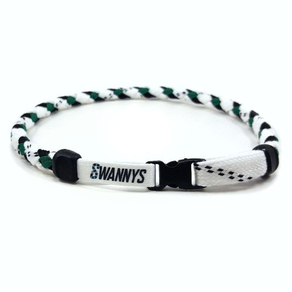 Hockey Lace Necklace - White, Black and Kelly Green by Swannys