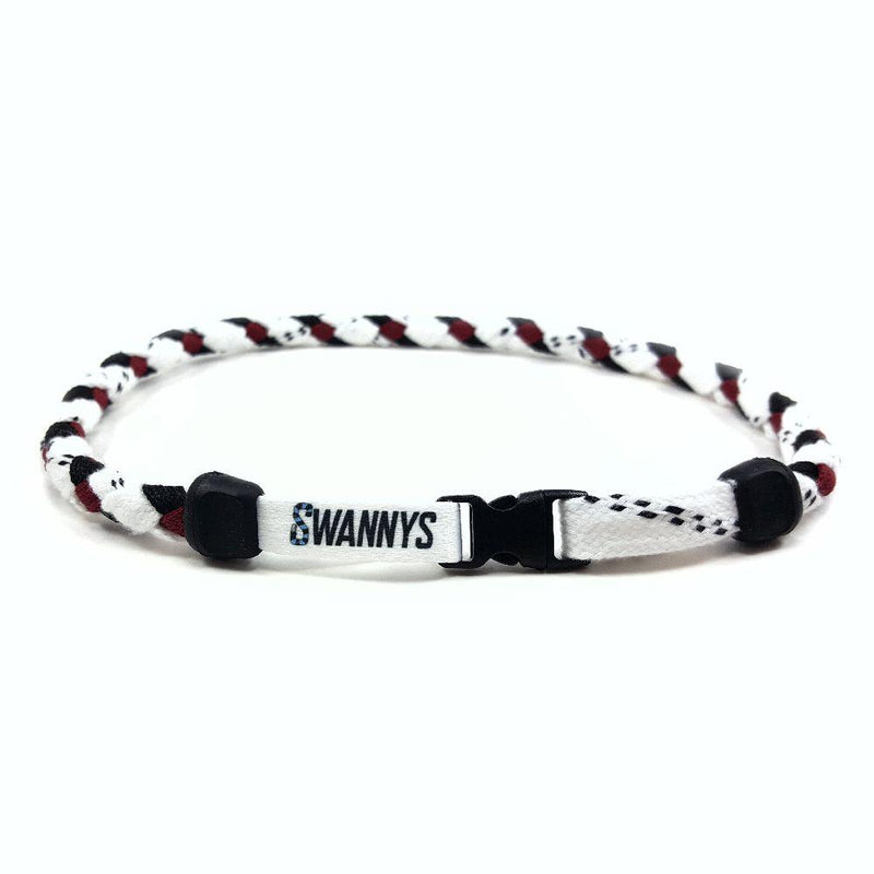 Hockey Lace Necklace - White, Black and Maroon by Swannys