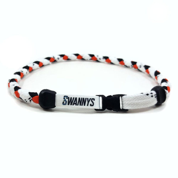 Hockey Lace Necklace - White, Black and Orange by Swannys