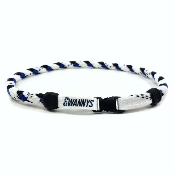 Hockey Lace Necklace - White, Black and Royal Blue by Swannys