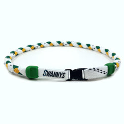 Hockey Lace Necklace - White, Kelly Green and Gold by Swannys