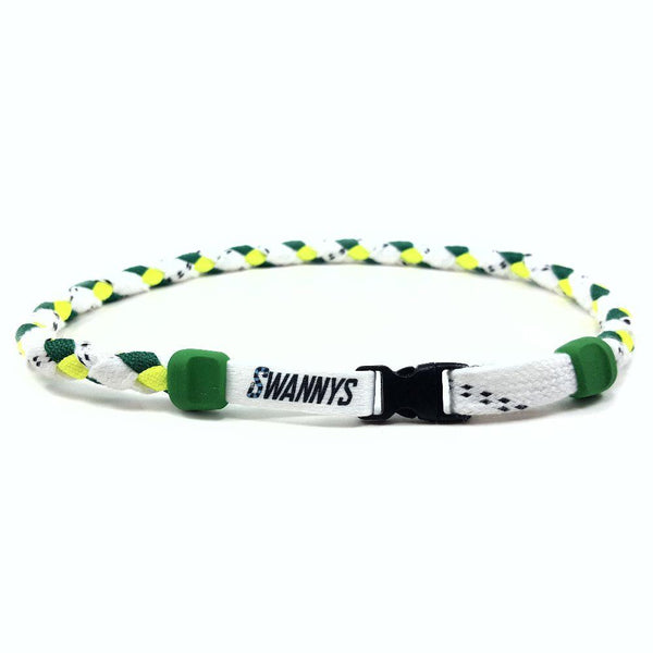 Hockey Lace Necklace - White, Kelly and Neon Yellow by Swannys