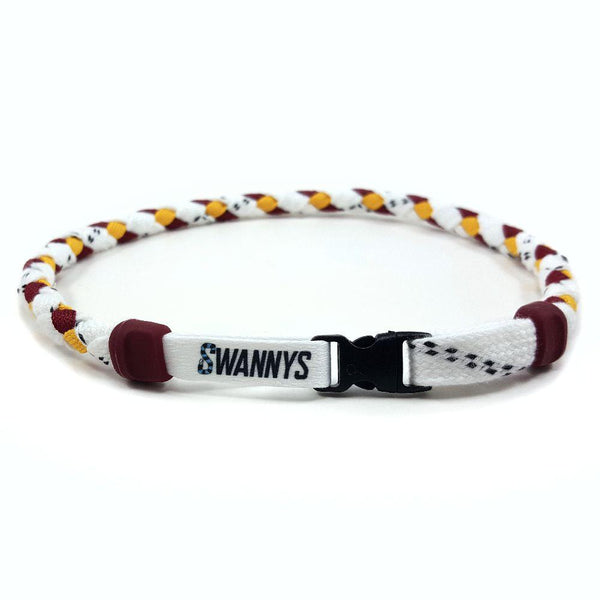 Hockey Lace Necklace - White, Maroon and Gold by Swannys