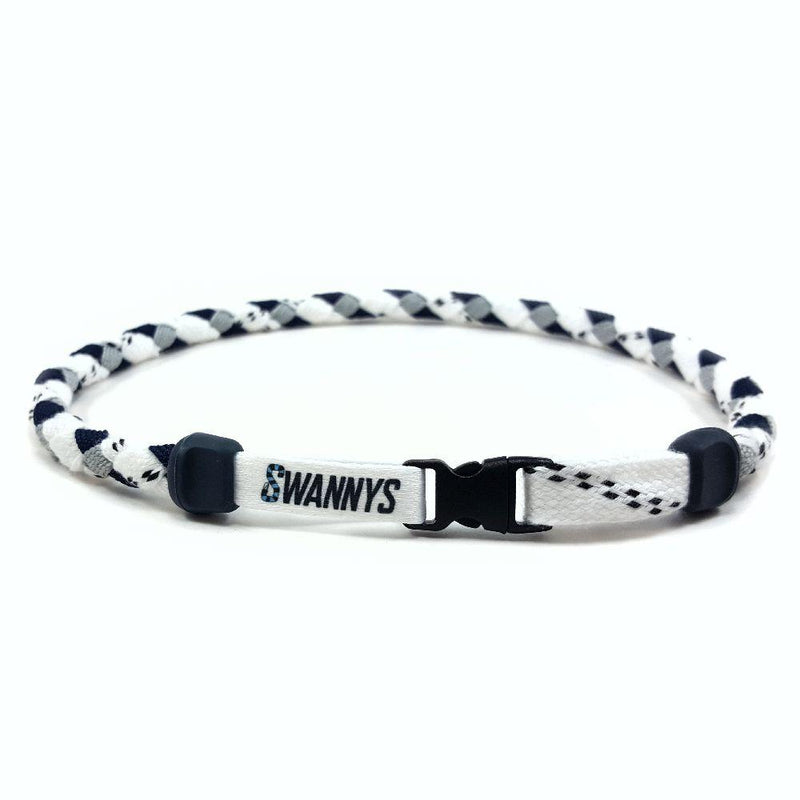 Hockey Lace Necklace - White, Navy Blue and Gray by Swannys