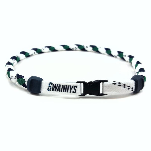 Hockey Lace Necklace - White, Navy Blue and Kelly Green by Swannys